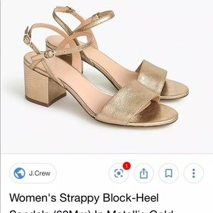 JCrew strappy gold leather block 60mm heels Size 7